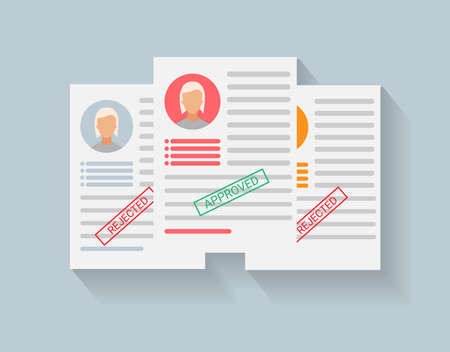 Job Competition Concept. Approved CV Of Vacancy Applicant Lying On Other CVs Over Gray Background. Vector Illustration