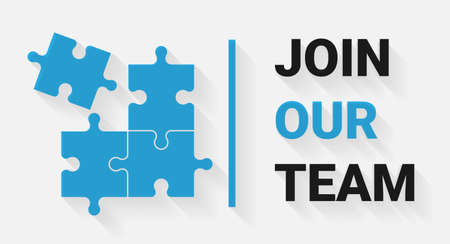 Join Our Team. Job Advertisement Recruitment Illustration With Puzzle And Text Over White Background. Vector, Panorama
