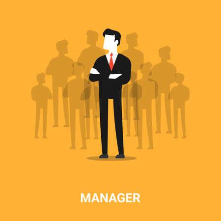 HR Manager. Businessman Standing In Front Of Job Applicants Silhouettes Over Orange Background. Illustration, Vector Vektorgrafik
