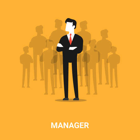 HR Manager. Businessman Standing In Front Of Job Applicants Silhouettes Over Orange Background. Illustration, Vector