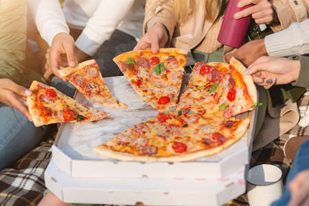 Cropped of international group of friends hands grabbing slices of pizza, having picnic