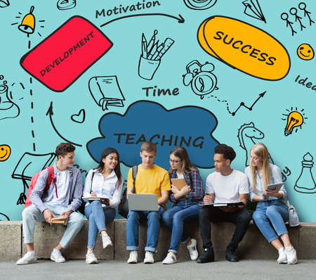 Group Of Multiracial Students Sitting Studying Together Using Laptop On Blue Background. Teaching, Learning And Education Concept. Collage With Words