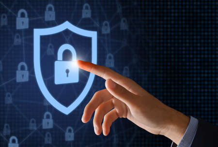 Antivirus, Data Protection And Cybersecurity Concept. Collage illustration of hand touching closed padlocks with keyhole icon in the guard shield on abstract digital blue background. Access To Files