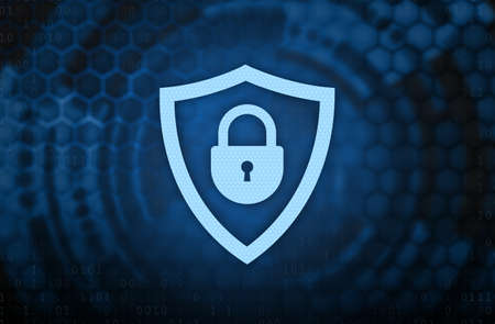 Safety And Cyber Security. Collage illustration of closed padlock with keyhole icon in the guard shield on abstract digital blue background with binary code and mesh. Antivirus Concept. 免版税图像