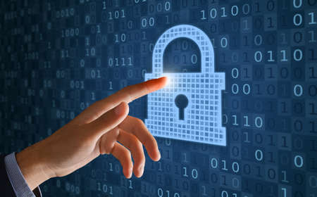 Cyber Data Or Information Privacy Concept. Collage illustration of hand touching closed padlock with keyhole icon on abstract digital blue background with binary code. Protection of access to files