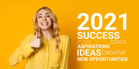 I Like 2021 Year. Excited Woman Gesturing Thumbs Up Approving Upcoming New Year Smiling To Camera Standing On Yellow Background. Anticipating Successful 2021 New Year. Panorama, Collage With Wordcloud