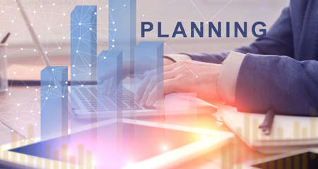 Creative Collage For Business Planning Concept With Businessman Working On Laptop In Office, Digital Charts And Poligonal Connection Lines And Dots, Panorama Stock Photo