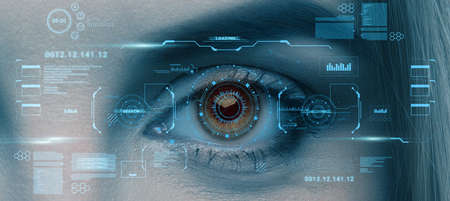 Retina scan of female eye, collage with futuristic data on virtual screen, panorama. User biometrical identification system, access control, data protection, modern security technology