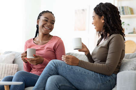 Two pretty black ladies drinking tea at home, having conversation and laughing, copy space. Beautiful african american girlfriends spending weekend together, sitting on couch at living room