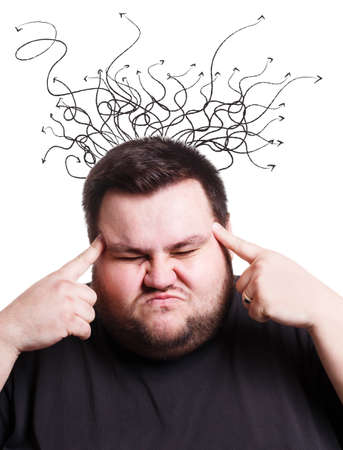 Overweight young guy having trouble making decision, overwhelmed by tangled thoughts, collage. Fat millennial man building problem solving strategies, searching for best solution