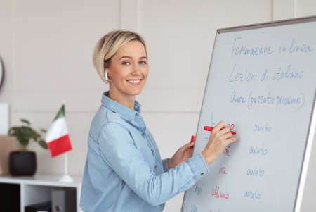 Online foreign languages school. Positive female teacher writing on blackboard, teaching Italian on web, explaining grammar rules to students. Happy young tutor giving lecture on internet