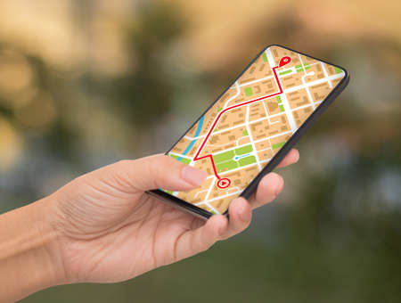 Unrecognizable Female Using GPS Map Navigation App On Smartphone While Walking Outdoors In City, Woman Tourist Tracking Her Location With Modern Mobile Application, Creative Collage, Closeup