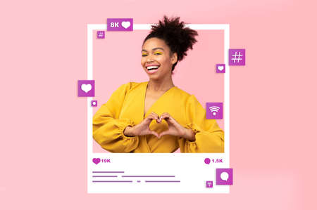 Collage with young black woman making heart gesture in photo frame, requesting likes in social media on pink studio background. Popular blogger asking her followers for positive feedback