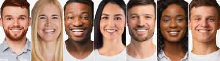 Diverse Millennials Portraits Over White Background. Collage Of Females And Males Headshots With Row Of Smiling Happy Faces. Cheerful Men And Women, Human Crowd And Social Diversity. Panorama