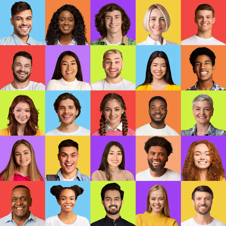 Square Collage Of Happy People Faces With Multicultural Females And Males Headshots Smiling To Camera On Different Colorful Backgrounds. Portraits Collection Concept.