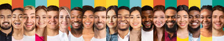 Collage Of Human Faces. Multicultural Peoples Faces In A Row. Group Of Diverse Females And Males Smiling To Camera Posing Over Colorful Backgrounds. Range Of Headshots. Diversity Concept. Panorama