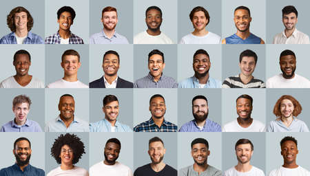 Set of positive male portraits, diverse men of different ages, nationalities and looks smiling at camera over grey studio backgrounds. Creative image for men community, male platform concept