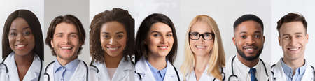 Diverse Doctors Portraits In Collage, Happy Medical Workers Headshots Set, Physicians And Nurses Posing Smiling To Camera Over Gray Backrounds. Doctors Profession And Career Concept. Panorama