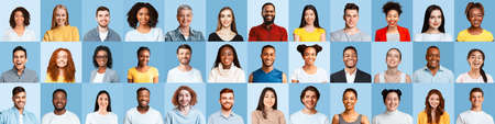 Portrait Collage Of Multiple Happy People Posing Over Blue Backgrounds Stock Photo