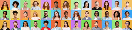 Happy Young Men And Women Faces Smiling On Colorful Backgrounds Stock Photo