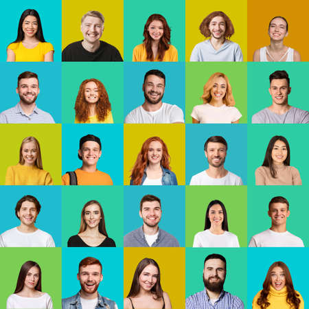 Square Collage Of Young People Faces With Colorful Backgrounds Imagens