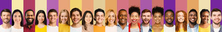 Collection Of Successful People Portraits, Row Of Faces, Colorful Backgrounds Stock Photo