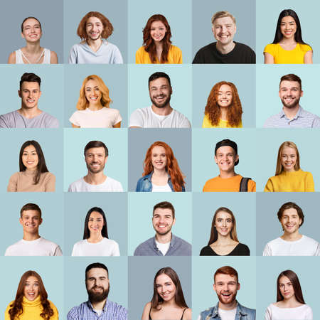 Collage of millennial people portraits with smiling faces, blue backgrounds Stock fotó