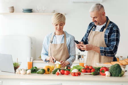 Cook delicious meal together, healthy eating and vegetarian dish