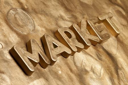 letras de oro: Market Gold Letters 3d type Foto de archivo