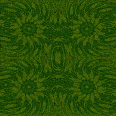 aras: Green rug - Ornamental pattern in the style of cubism  In this picture are symmetrically arranged four flowers that  have configuration similar as pinwheels or stars
