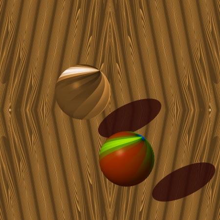 piastrine: Palle e una parete di legno - Una parete in legno e le due palle in movimento