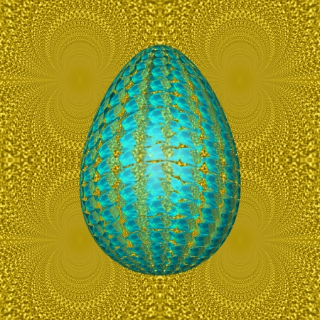 Gold and glass - In the foreground of this picture is the egg, which in graphical form shows the imitation of the glass or precious stones  In the background are yellow ornaments, with colored reflection of gold Stock Photo - 24599912