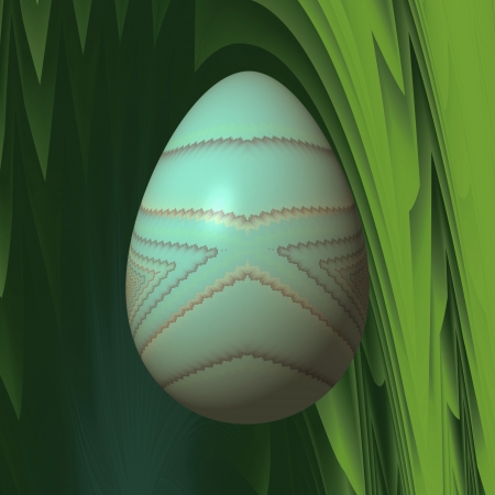 inconspicuous: Simple Easter egg - Simple pattern on an Easter egg, which is colored in an inconspicuous greenish color