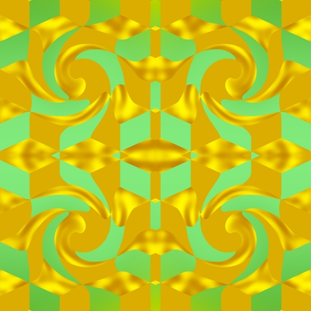 The golden grid - Ornament in the image is formed in the shape of a decorative grid, that is golden-yellow color. Stock Photo