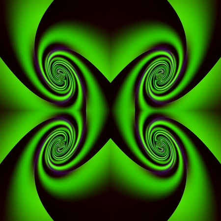 swirling: The swirling in green - The curves are twisted into four spirals, and are in fluorescent green-neon of colored.