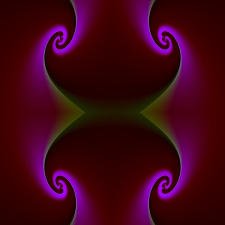 fluorescence: The violet fluorescence - The curves are twisted into four spirals, and their edges are illuminated in purple color. Stock Photo