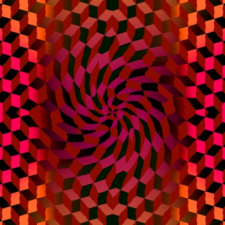 Waves and whirl - The corrugated cubes are arranged in the center of the image into the  shape of the spiral.