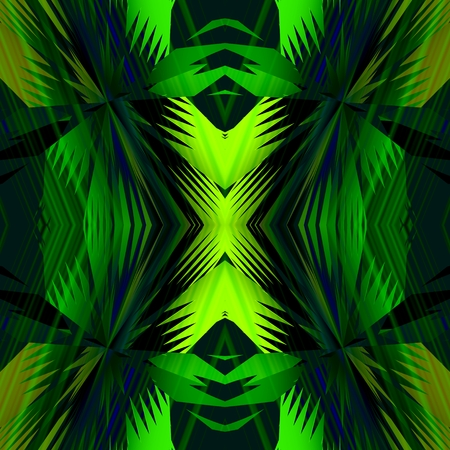 geometrically: Leaves of palm - Geometrically arranged a green surfaces the sharp spikes, which have its appearance similar as the palm leaves.
