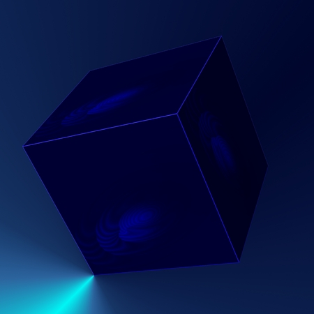subdued: Dark blue cube - The cube in still life peaceful, in the subdued light of blue color.