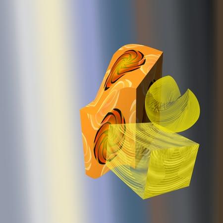 prisma: Las deformaciones - En el primer plano es un objeto trasl�cido, que se asemeja a una hoja de flor y tambi�n hay un prisma trasl�cido. M�s profundamente en esta imagen es un prisma deformado, que en su superficie muestra molinetes o girando en las estrellas.