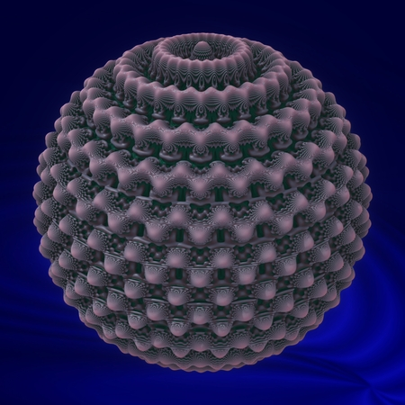 A sphere of wax - Spherical object in this image, has a symmetrically dissected surface, with waxy appearance. Stock Photo