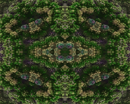 embossment: The vegetation of stone: This image has a symmetrical structure, which has the appearance of rocky embossment. The embossment is arranged into dissected and in colored texture  in the form stone flowers.