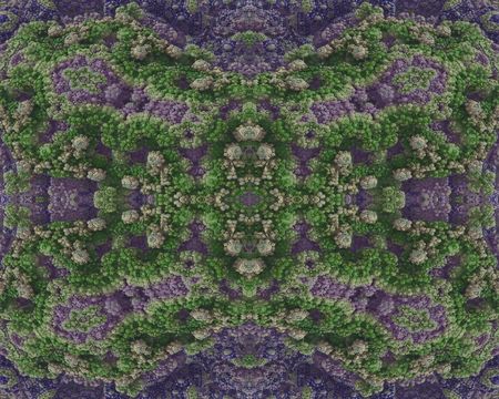 embossment: The crystalline flowerbeds: This image has a symmetrical structure, which has the appearance of rocky embossment. The embossment is arranged into dissected and in colored texture  in the form stone flowers. Stock Photo