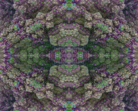 embossment: Flowerbeds of stone: This image has a symmetrical structure, which has the appearance of rocky embossment. The texture is arranged into colored ornaments.
