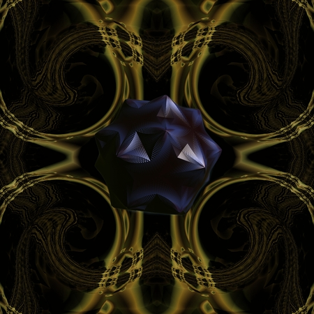 embossment: This picture shows the crystal structure Which has the appearance of a black gem. This subject complementing the dark and mysterious background of the picture. Stock Photo