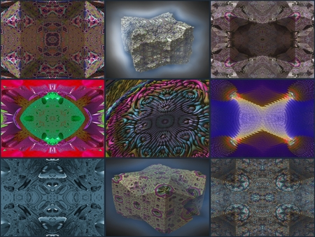 embossment: Fractal composition: This compilation have a Composed of images and threedimensional display That objects and patterns. Stock Photo