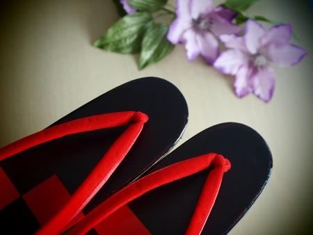 beautiful geta the Japanese footwear for kimono photo