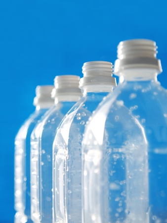 plastic bottles in line photo