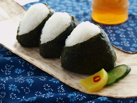 black rice: japanese rice ball onigiri Stock Photo