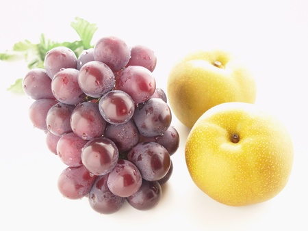autumn fruit grapes and pear Stock Photo